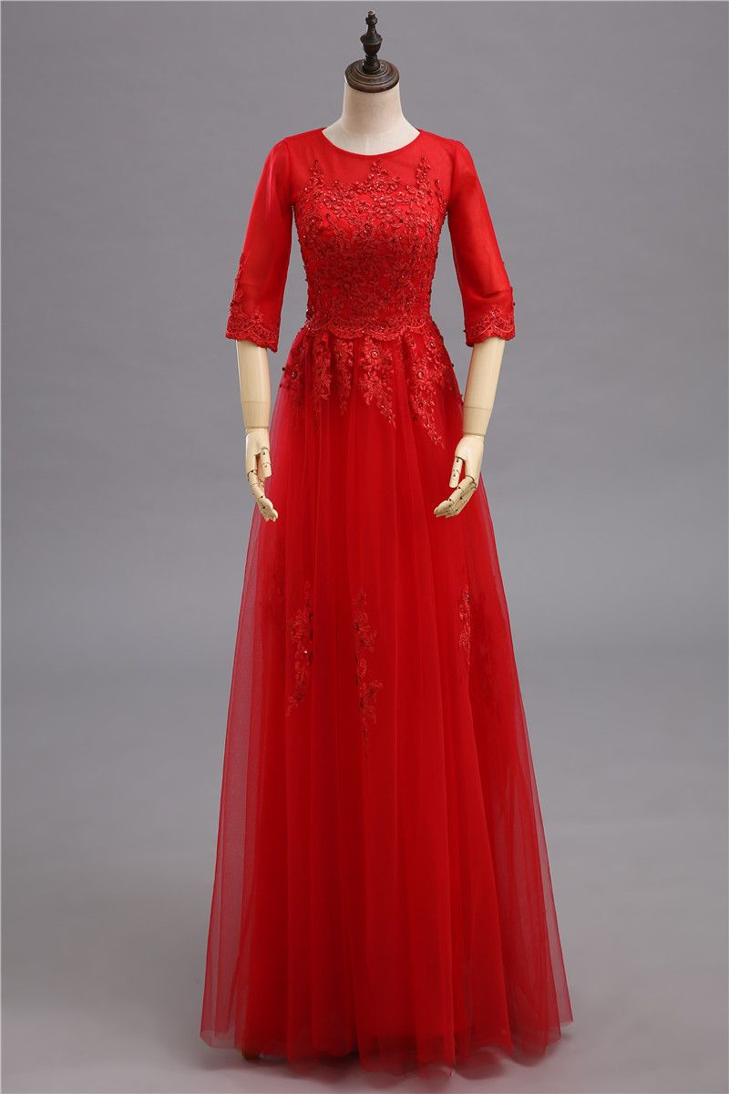 Click to buy ucuc red mother of the bride dresses long with lace