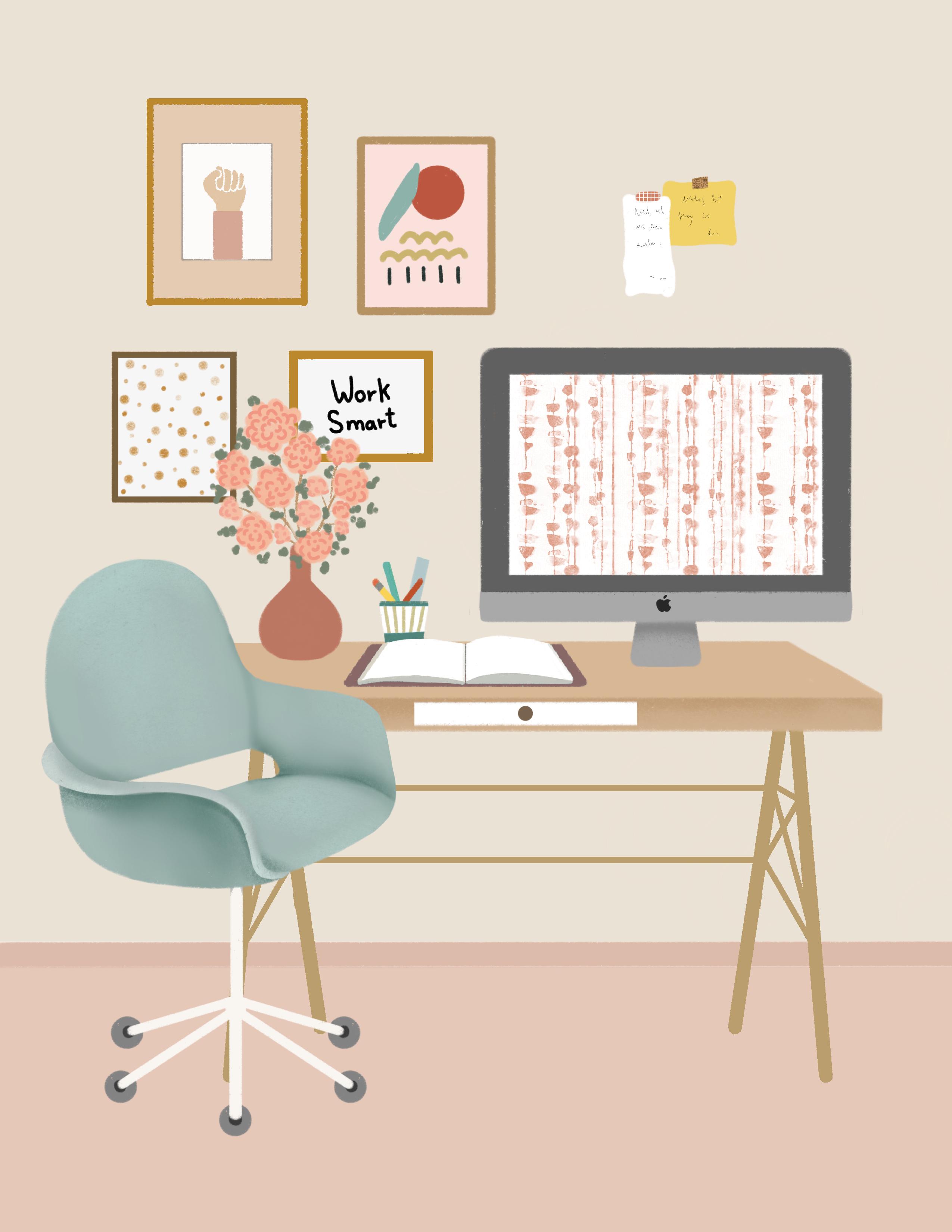 Printable Office Illustration Desk Gold Legs Art Prints Etsy Aesthetic Room Decor Office Wall Decor Office Wall Art