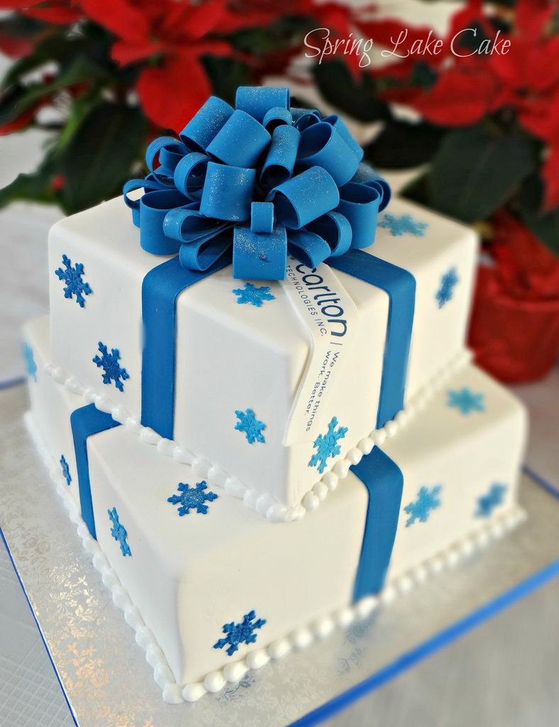 fondant cake with gumpaste bow and snowflakes