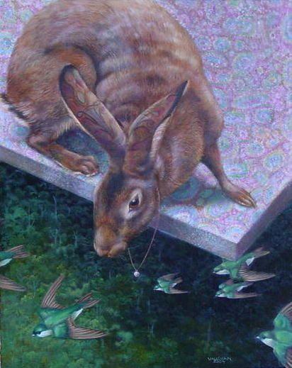 Surfing the Wind - Animal Art oil paintings by Wendy Vaughan - copyright Wendy Vaughan