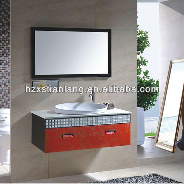 Art Exhibition stainless steel modern bathroom vanity cabinet stainless steel one year warranty Waterproof Qucik delivery