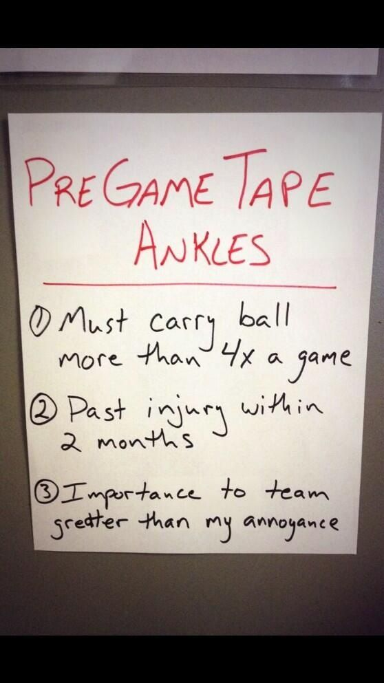 This is hilarious and awesome. For all the kids who insist of getting taped and sitting the bench.