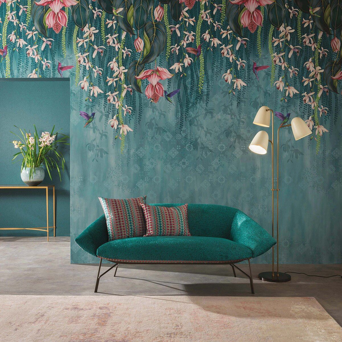 Mural trailing orchid teal / pink Floral Wallpaper in
