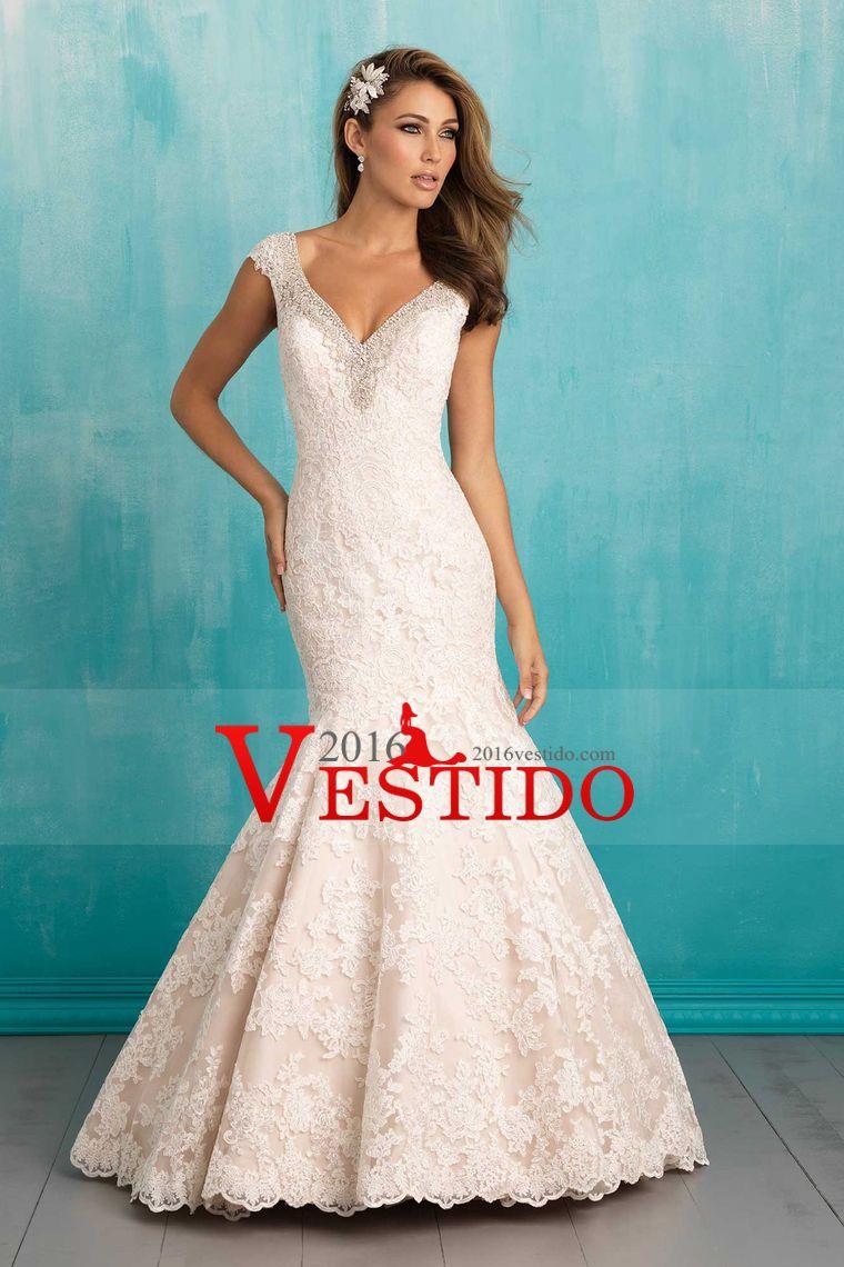 2016 Sexy sirena vestidos de novia V-Cuello Tulle con rebordear y ...