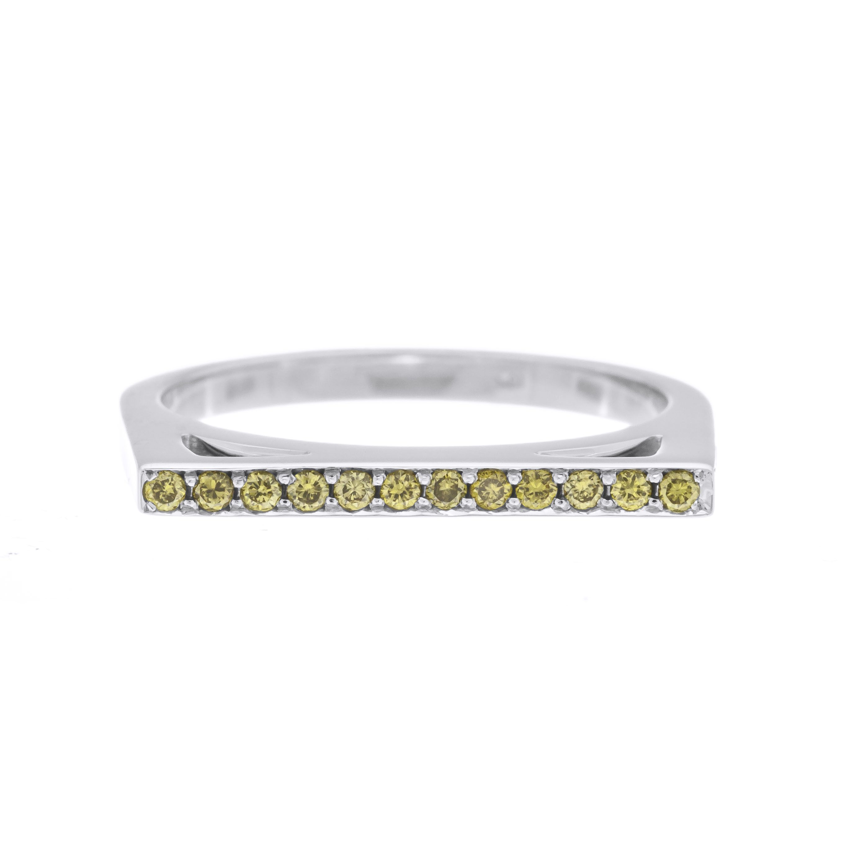 Fancy Yellow Bar Top Ring Fancy Yellow Diamond White Gold Rings Yellow Diamond