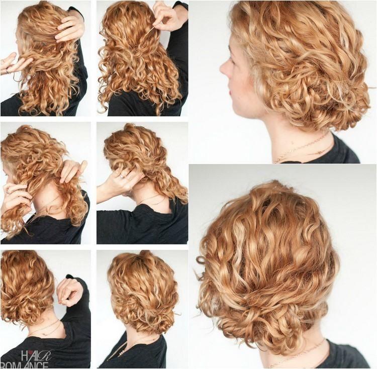 Coiffure cheveux frises attaches