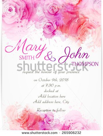 Wedding invitation template with abstract roses on watercolor - fresh wedding invitation vector templates free download