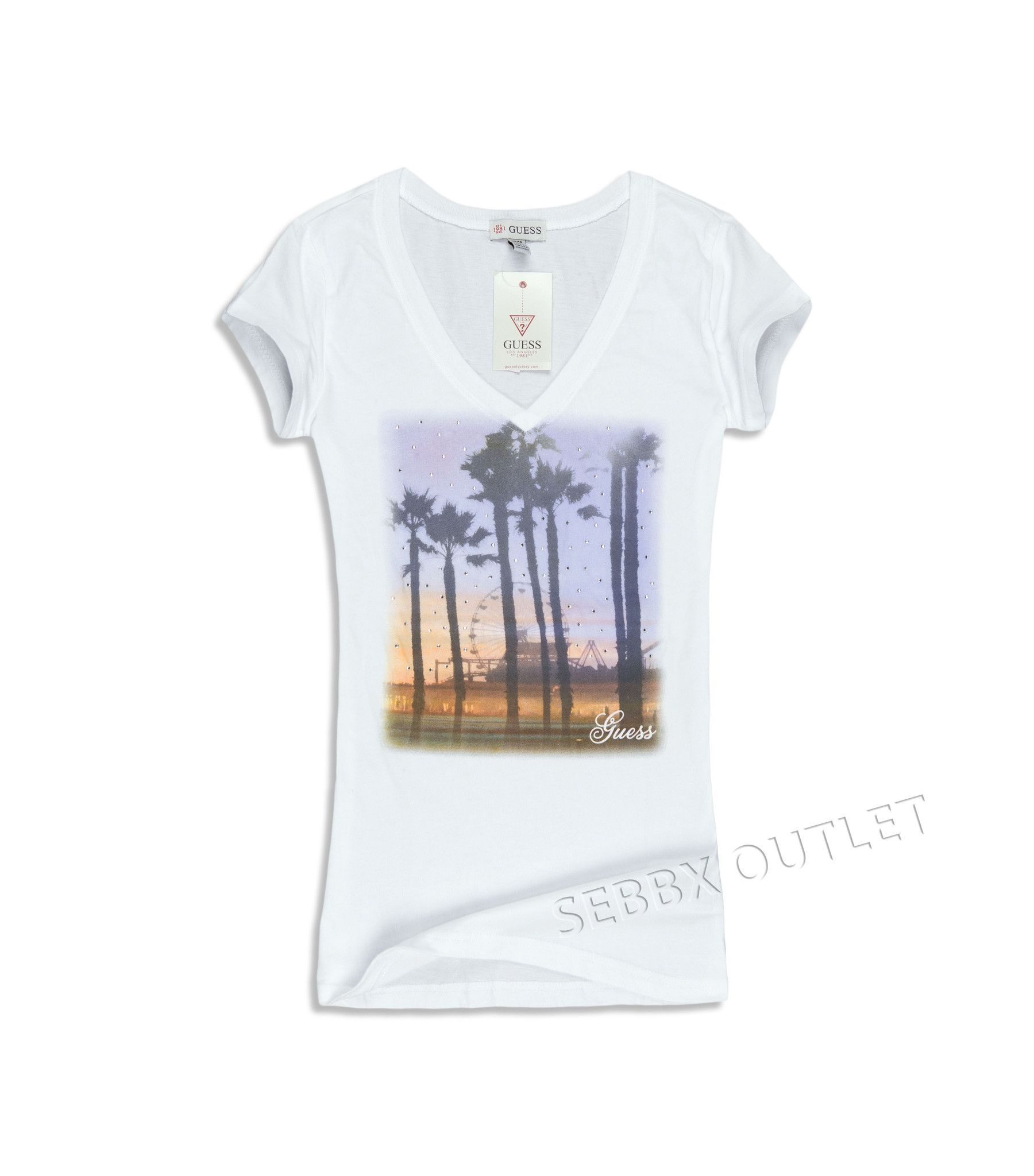 19db326d7f Guess T Shirt Harpa Tropical Tee True White V Neck Short Sleeve ...