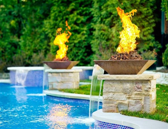 Water Feature With Fire Pits Decoration Exterieur Terrasse