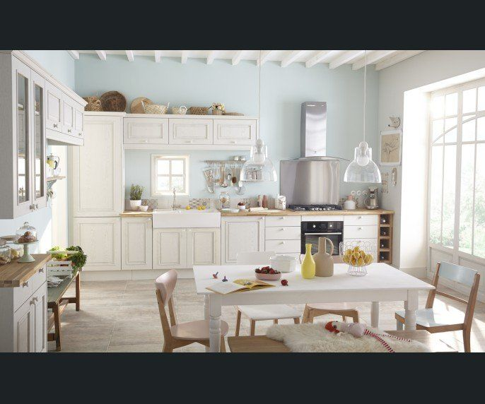 Cuisine Blanc / Beige / Naturel DELINIA Charme / Romantique - Magasin De Meubles Plan De Campagne