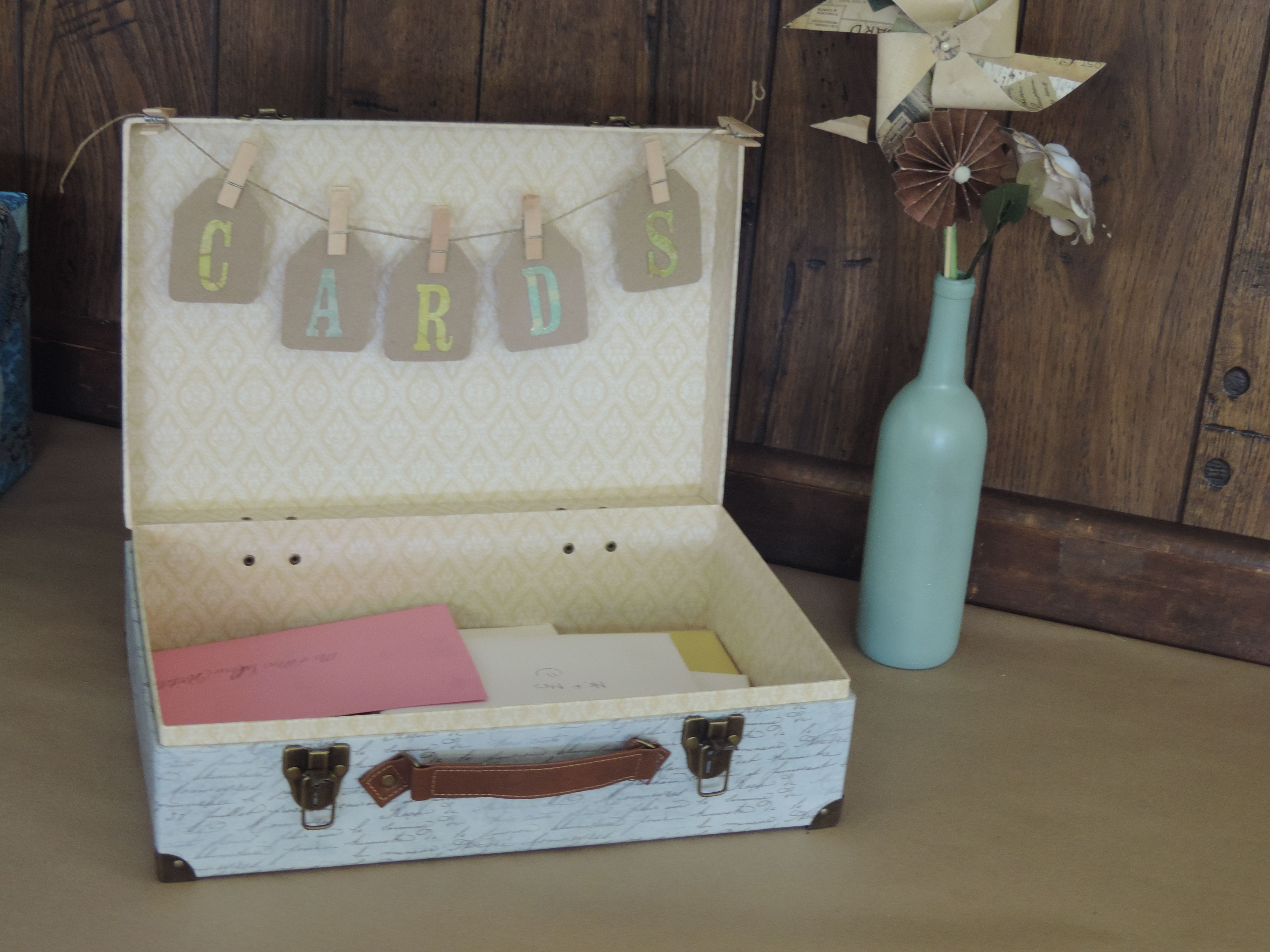 Diy travel themes wedding reception card box suitcase from craft