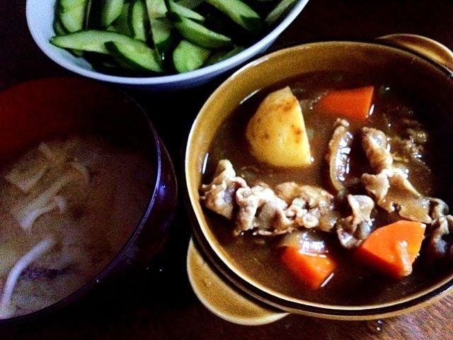 キノコの味噌汁、きゅうり甘酢漬け - 1件のもぐもぐ - ポークカレー by coppechan
