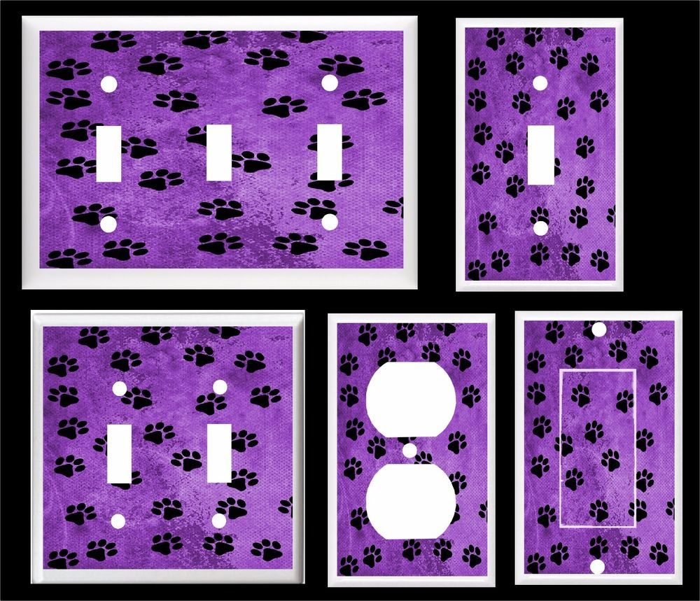 Details about BLACK PAW PRINTS ON PURPLE ~ LIGHT SWITCH COVER PLATE ...