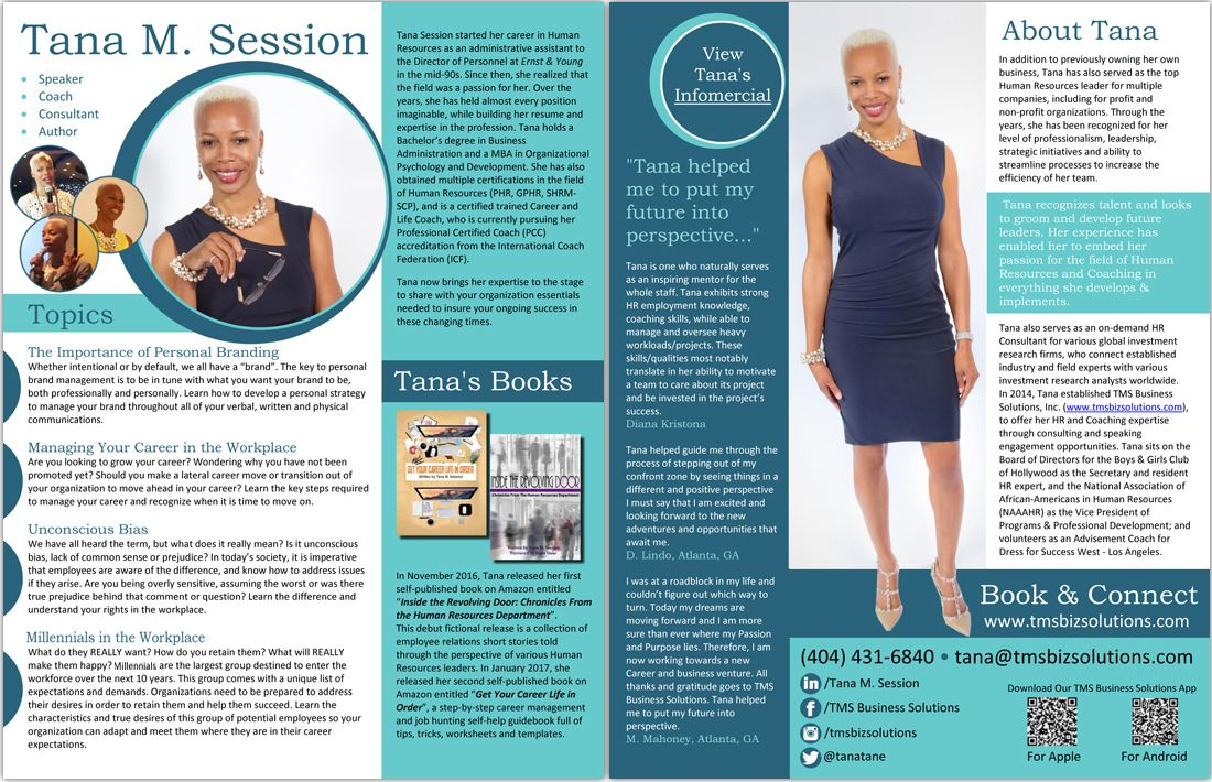 Professional Speaker One Sheet Samples And Graphic Design Services Graphic Design Services One Pager Professional Speakers