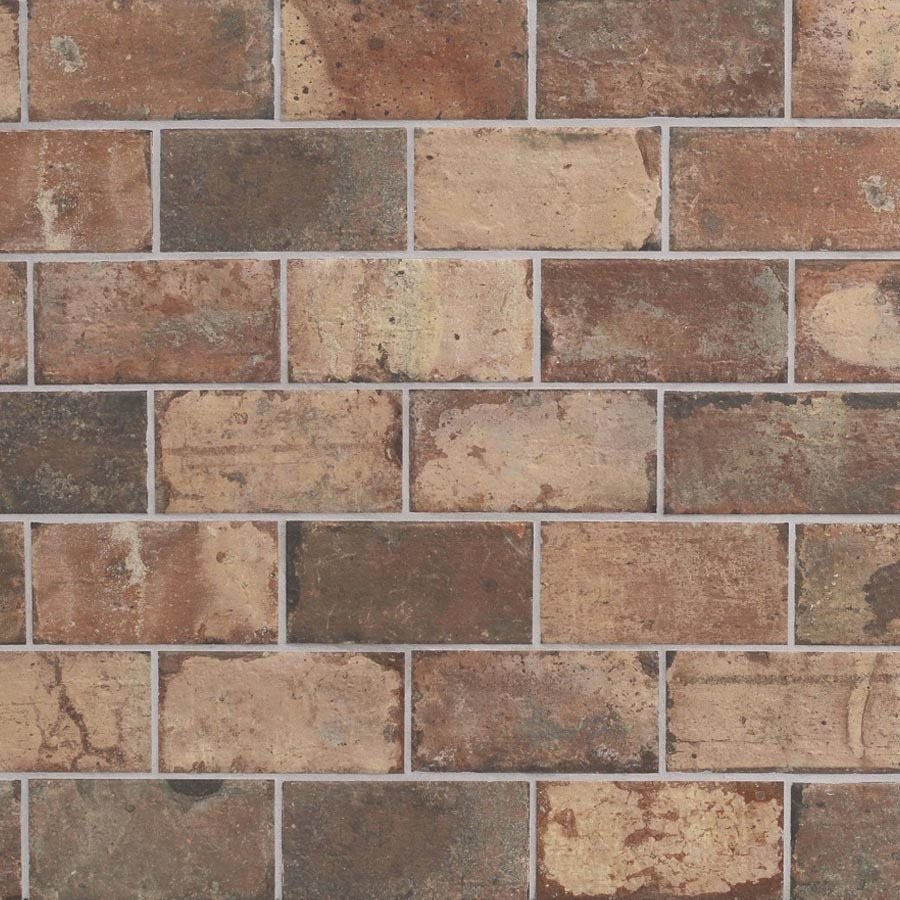 Shop style selections broadmeadow brick 4 x 8 glazed porcelain shop style selections broadmeadow brick 4 x 8 glazed porcelain indooroutdoor floor tile at dailygadgetfo Image collections