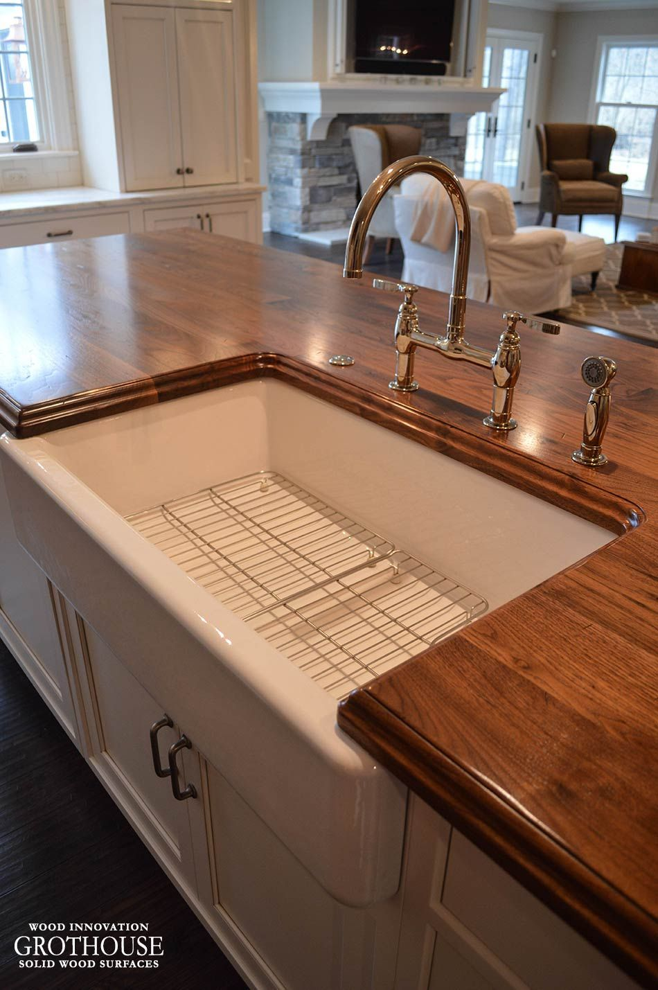 Walnut Wood Counter with Farmhouse Sink https://www.glumber.com ...