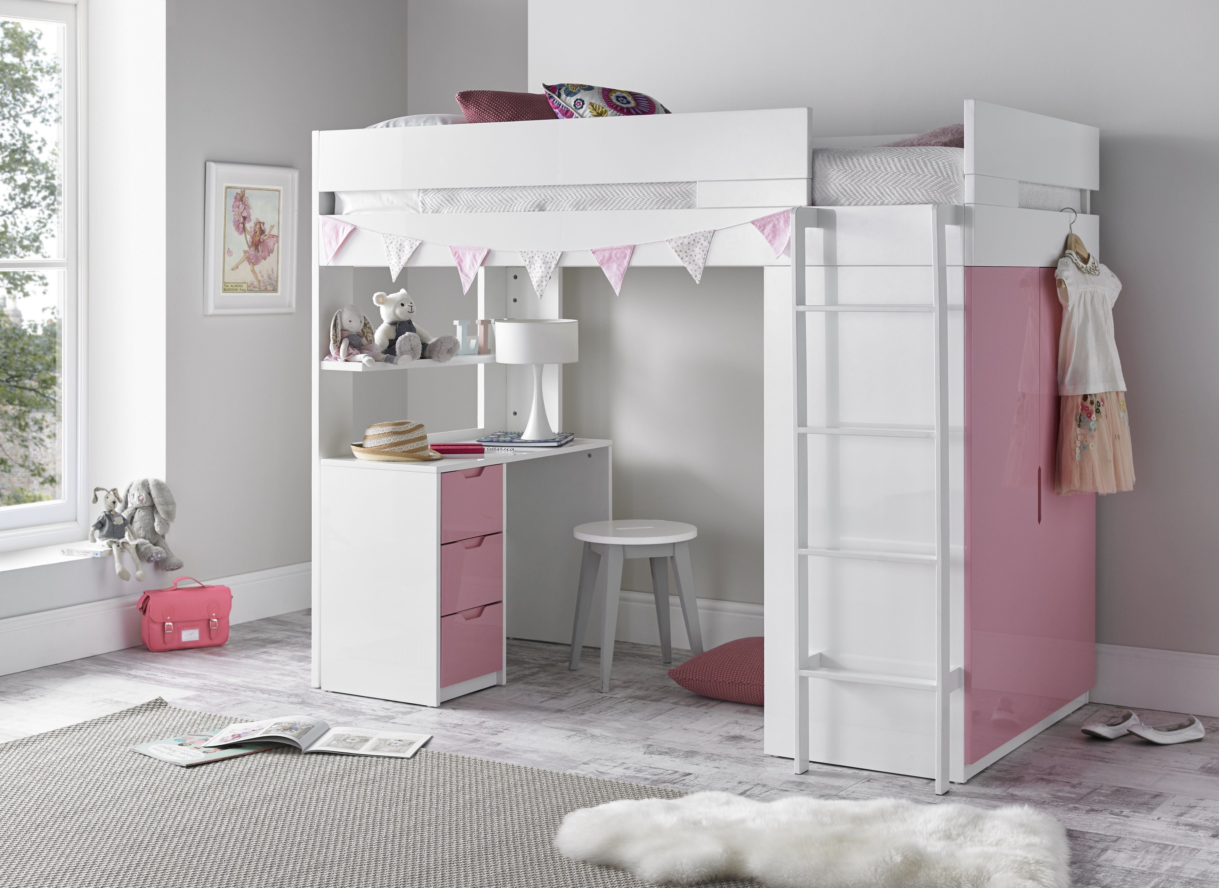 High Sleeper Pink Bed Kids bedroom furniture design, Mid