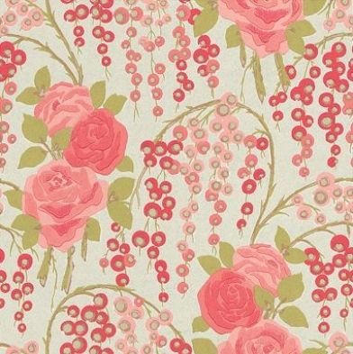 Iola Rose (75023) - Harlequin Wallpapers - An authentic vintage motif, combining the Iola design with the stylised rose of the original archive document. Shown in the rose pink on duck egg blue green. Available in other colours. Please request sample for true colour match.