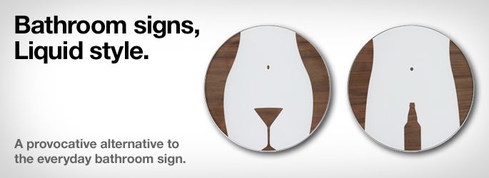 Bathroom Sign Graphics liquid brand exchange » liquid agency restroom signs are designed