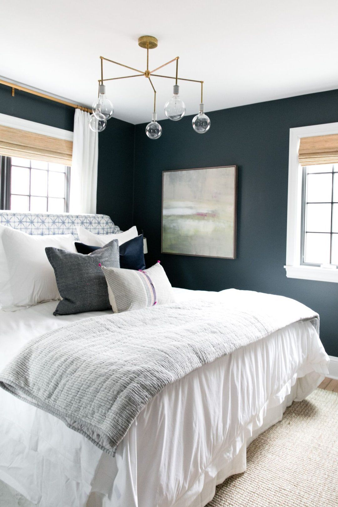 Master bedroom navy blue  Denver Tudor Reveal  Landscaping Studio mcgee and Bedrooms