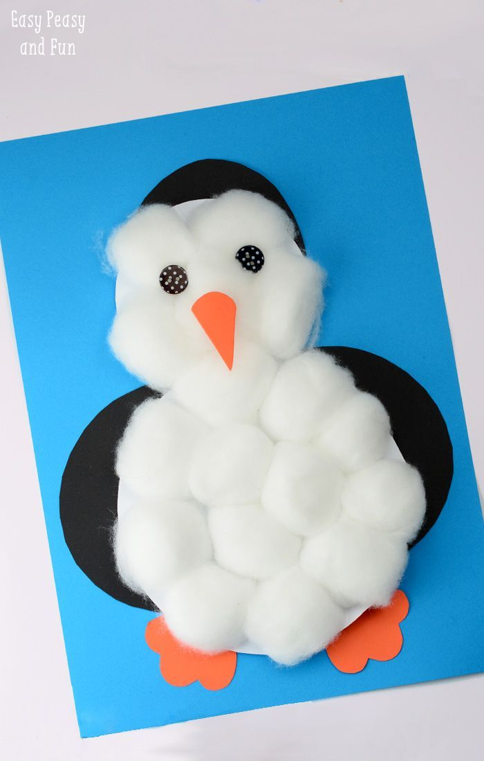 Cotton Balls Penguin Craft - Easy Peasy and Fun #penguincraft