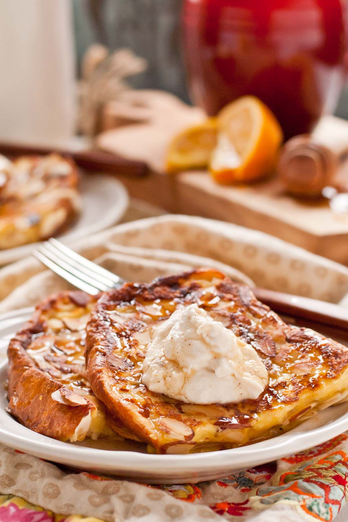 Almond Crusted French Toast with Honey and Ricotta is a special occasion breakfast treat!