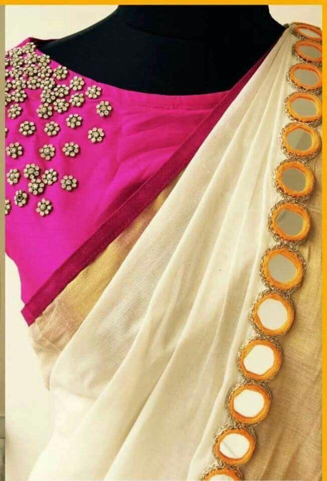 6a6db6874746b7 Mirror border sari … | Ethnic | Blous…