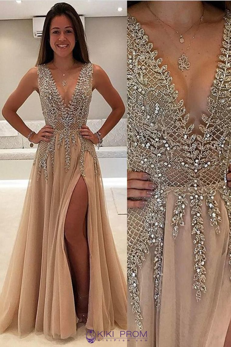 2019 Tulle Prom Dresses A Line V Neck With Beads And Slit Open Back ... 3959b4a5ae94