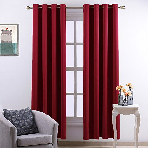 Nicetown Home Decorations Thermal Insulated Grommet Top Blackout Living Room Curtains  Drape for Summer One Pair52 x 84InchRed ** Click image to review more details.