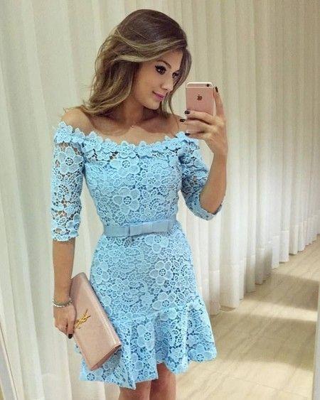 7c55d92fc Vestido Fabi na renda azul ombro a ombro e saia sino | Elegant dresses |  Vestido de formatura curto, Vestidos, Vestido festa curto