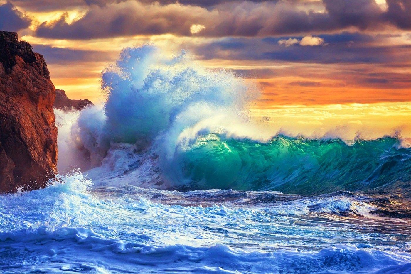 Rough Sea Beautiful Sunset Coast Clouds Sky Amazing Wave Rocks Ocean