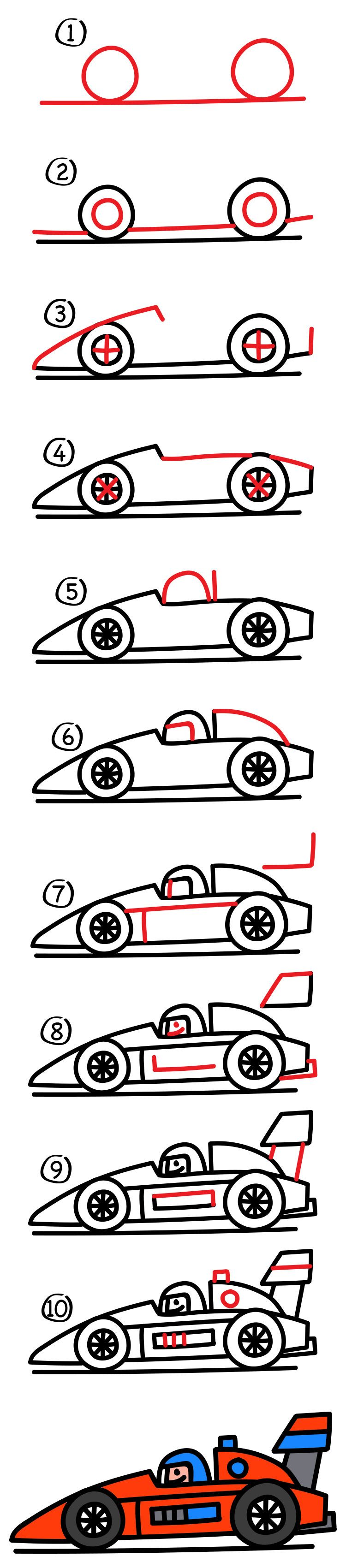 How To Draw A Race Car : Young, Artists, Drawing, Kids,, Drawings