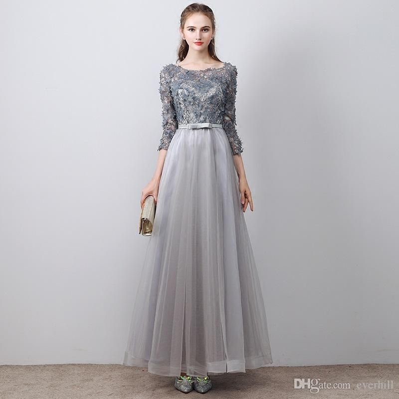 Elegant Gray Floor Length Prom Dress 2018 With 3 4 Sleeves 3D Flowers Tulle Beaded  Lace A-Line Party Formal Dresses Special Occasion Gowns e109bbd435d0
