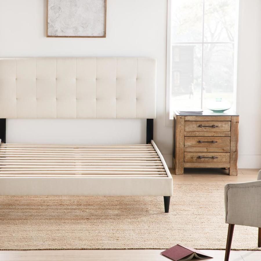 Brookside Cara Square Tufted Ivory Twin Xl Platform Bed Bstxpe01ub