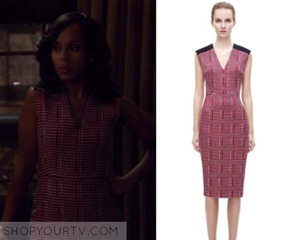 5b42546edf4b ShopYourTv:Scandal: Season 5 Episode 16 Olivia's Red Grid Print Dress -  ShopYourTv