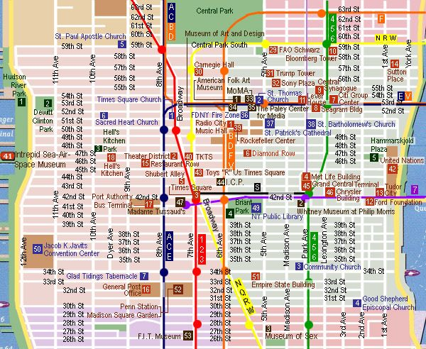 Map Of New York With Landmarks.Midtown Sightseeing Map Travel New York Landmarks New York