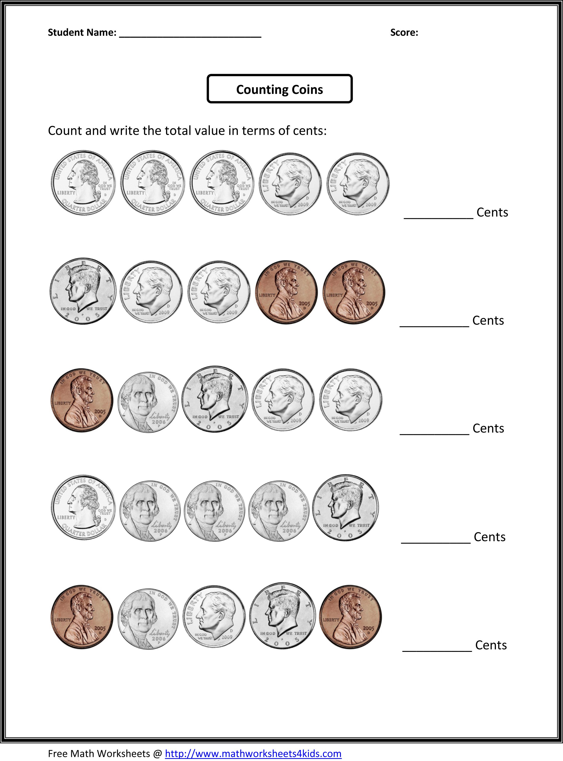 free money worksheets counting quarters dimes nickels and pennies – Money Math Worksheets Free