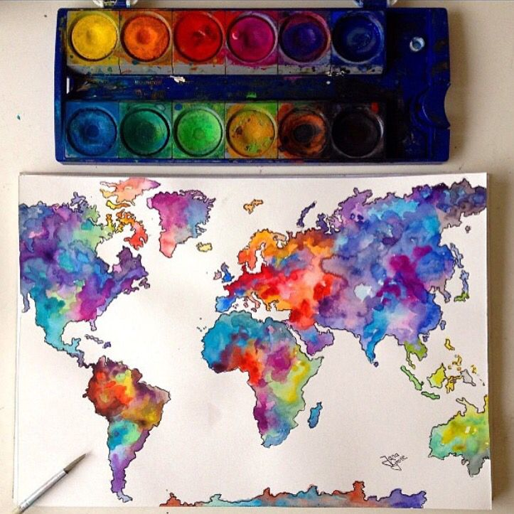 Colorful World Map Artsy Stuff Pinterest Watercolor - Colorful world map painting