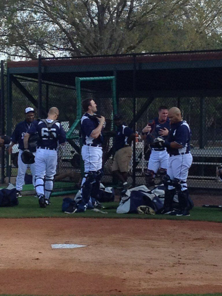 the catchers getting geared up 2/13/13