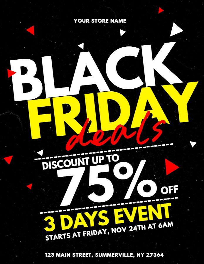 Black Friday Sale Custom Flyer Social Media Graphic Design Template