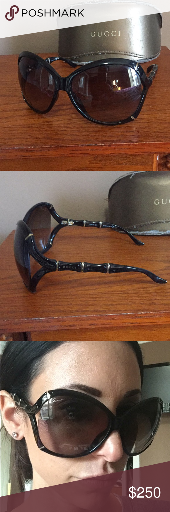 Gucci sunglassss Black gucci sunglasses. Great condition and comes with original gucci case. Black with smoky black lenses and gold hardware around frames and on sides. Gucci Accessories Sunglasses