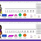 Desk Nameplates that include an alphabet line, number line, 100 chart, colour words and shape words. Include colourful superhero clip art character...