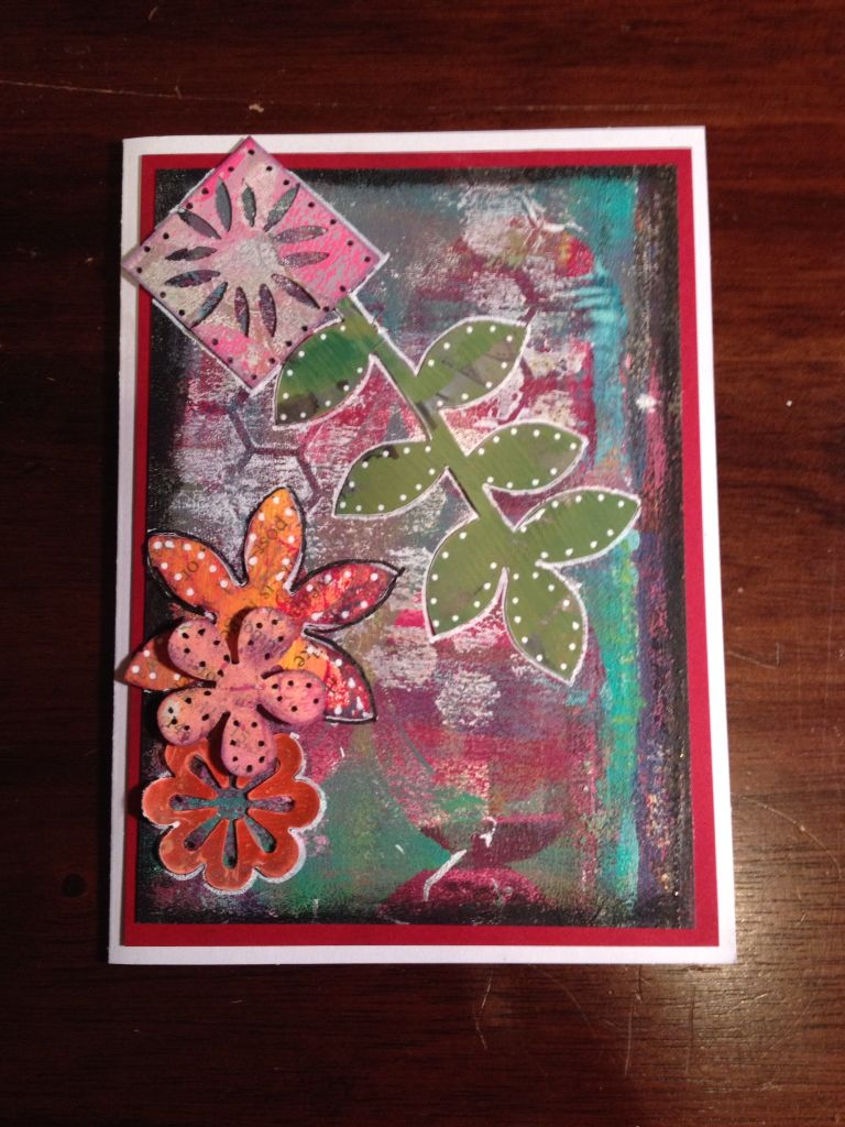 Upright vine descending with flowers. Handmade card using Gelli plate and mixed media.