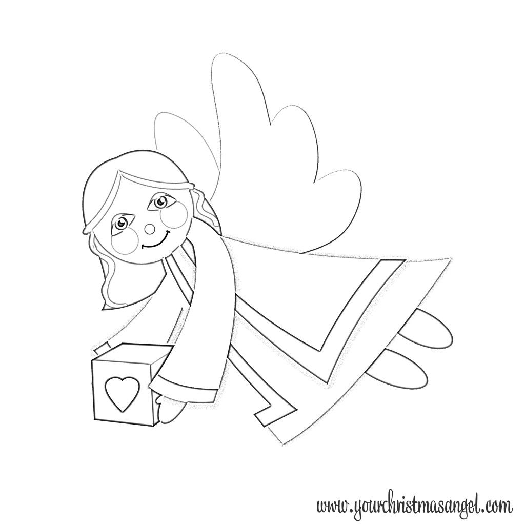 The Christmas Angel Girl Coloring Page