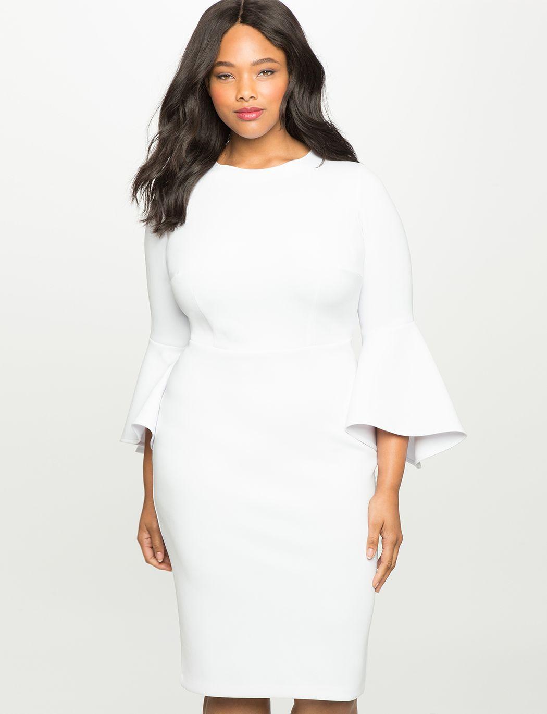 Flare Sleeve Scuba Dress Women S Plus Size Dresses Eloquii Classy Dress Scuba Dress Flare Sleeve Dress [ 1370 x 1050 Pixel ]