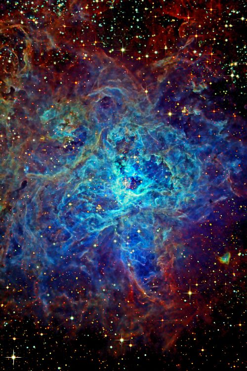 Tarantula Nebula  -  also known as 30 Doradus & NGC 2070  -  located 170,000 light-years away from Earth in the large Megalannic Cloud (a neighboring galaxy).