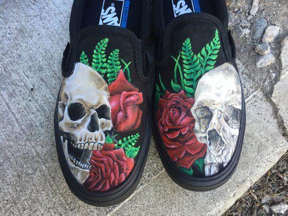 buy popular 5de13 1dd47 Skull and Rose Custom hand painted Vans Shoes   Etsy