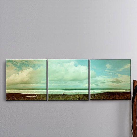 3 Panel Canvas Art Tropical Surf Black Sand Beach By Joellejoy