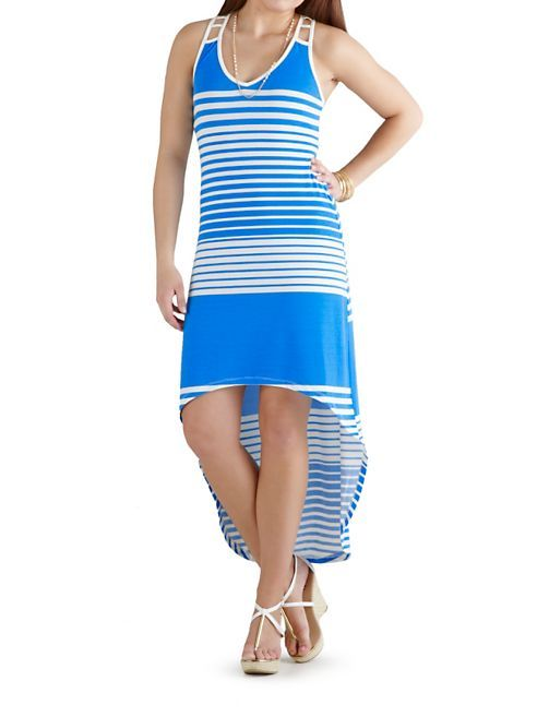 dots: Striped Hi Low Maxi Dress with Cage Back ... $20.00