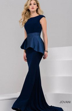 4352048cf19 Jovani - Navy Fitted Peplum Evening Gown (37129)